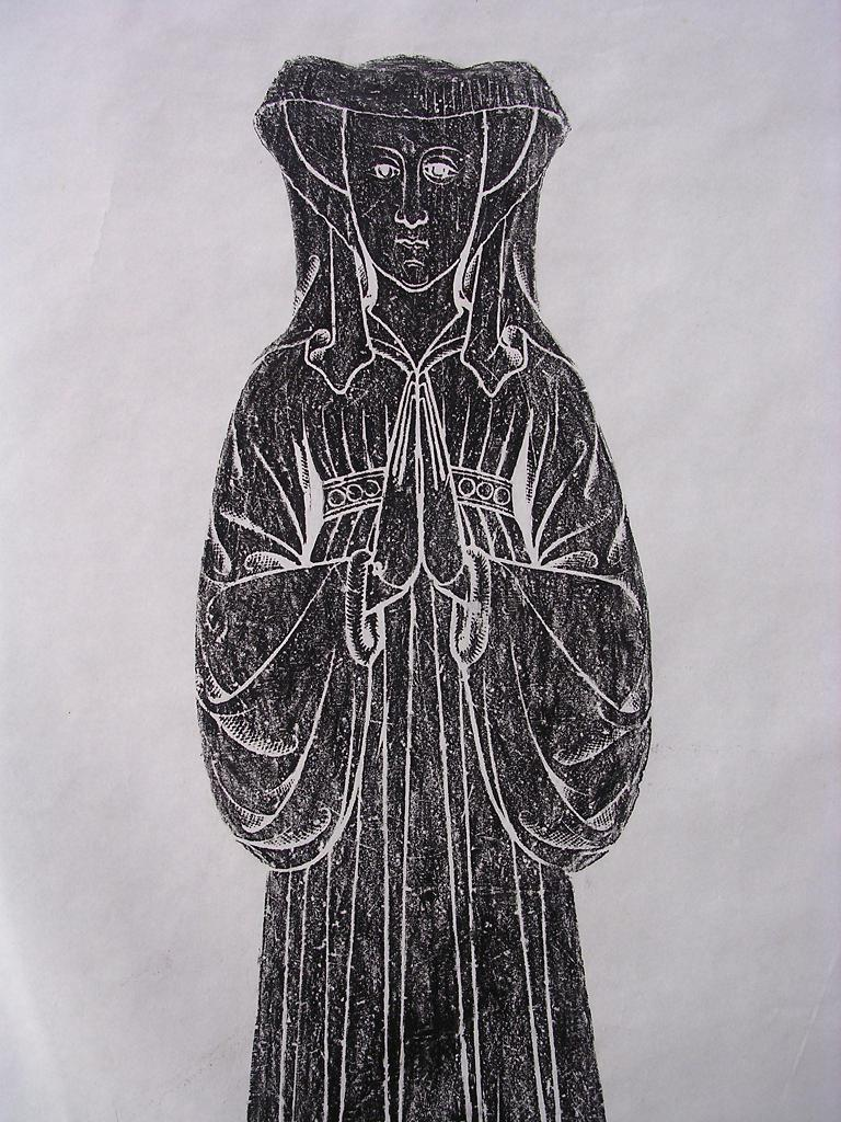 Beautiful Vintage Brass Rubbing Of MARGARET AILMER -1435 - Kent