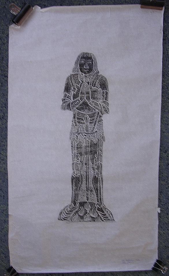 Vintage Brass Rubbing Of W.M. BERDEWELL 1490