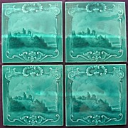 A Set Of Four Stunning Victorian Art Nouveau  PICTORIAL  Porcelain Tiles