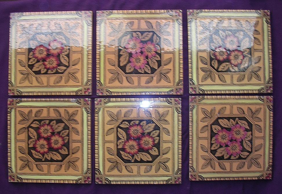 A Set Of 6 Beautiful Art Nouveau English Porcelain Tiles