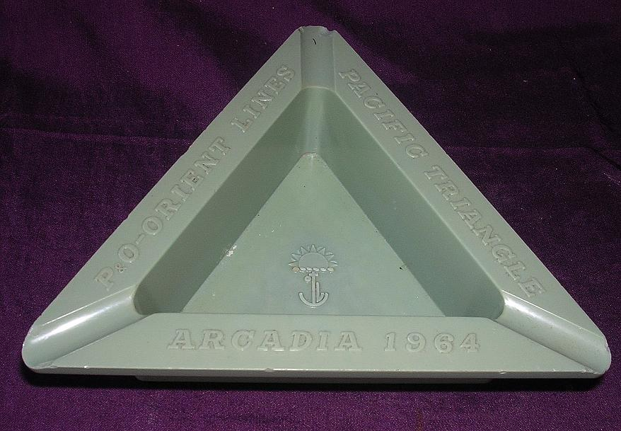 ARCADIA P & O Liner Souvenir Ashtray 'Pacific Triangle'