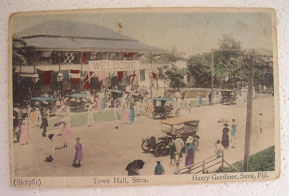RARE Vintage FIJI Postcard 'Town Hall - Suva'