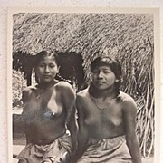Nude South American Natives 'Pressing Cassava' Vintage Postcard