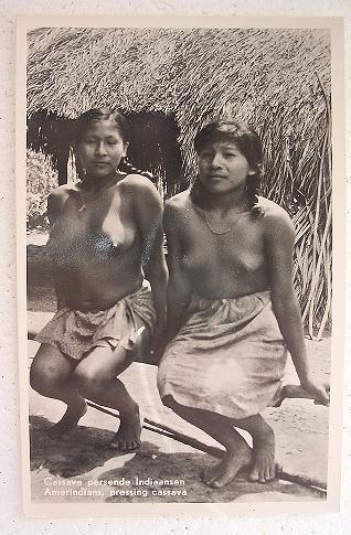 Nude South American Natives 'Pressing Cassava' Vintage Postcard