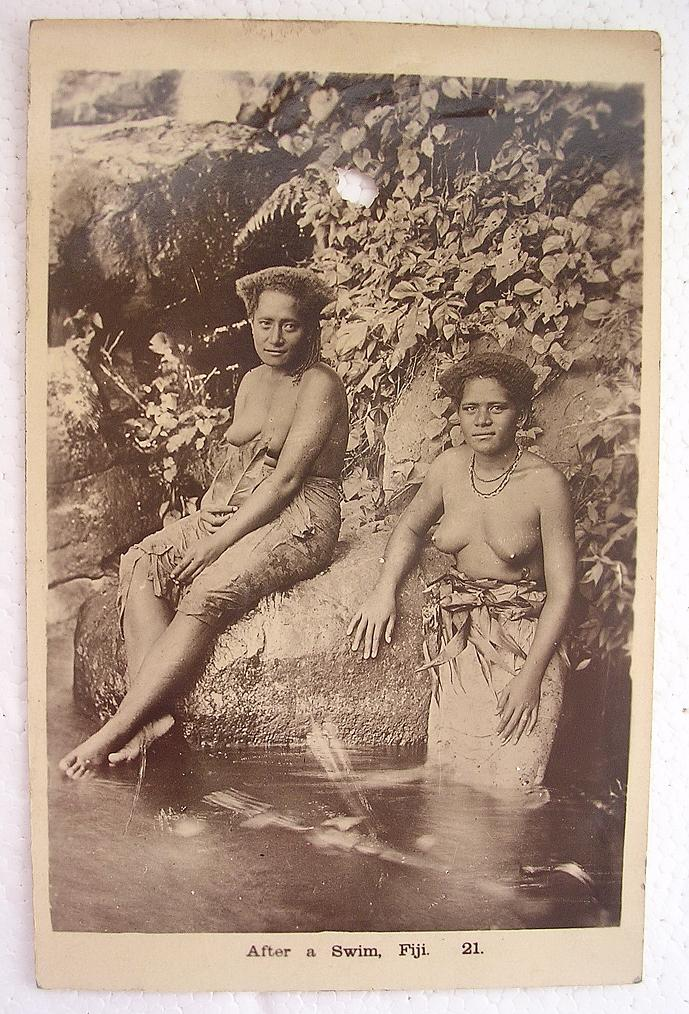 Vintage FIJI Photo Postcard 'After A Swim' Circa Early 1900's