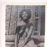 Vintage WW2 ERA Photo Topless Pacific Islands Girl