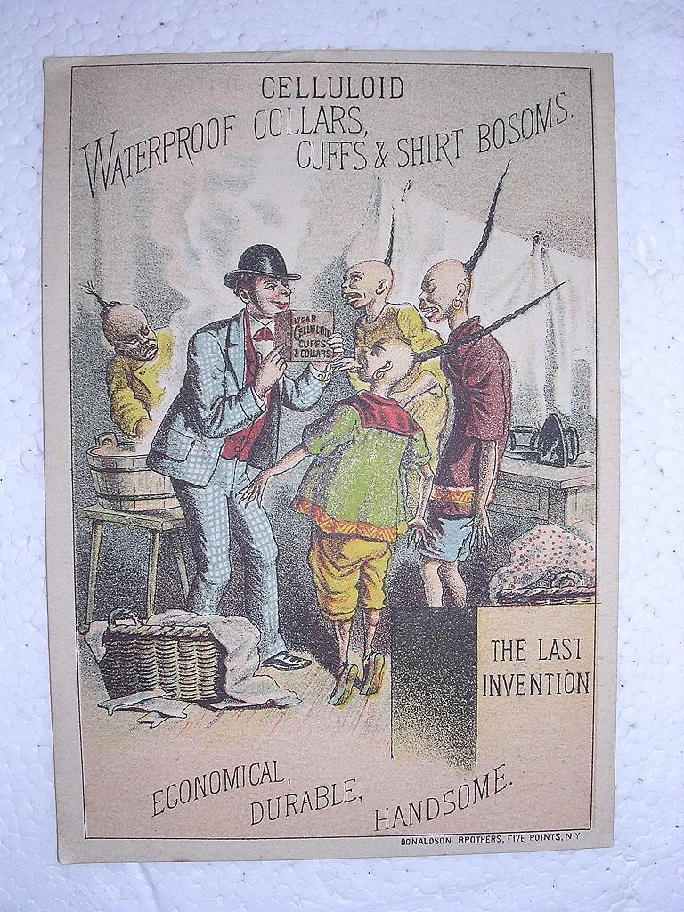 Victorian TRADE CARD For CELLULOID Collars, Cuffs, & Shirt Bosoms