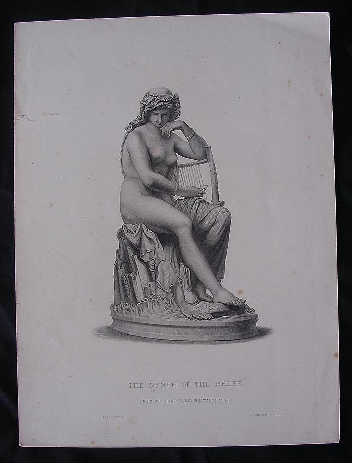 Genuine Victorian Engraving 'The Nymph Of The Rhine' By F.R. ROFFE