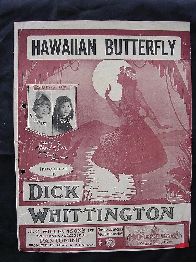 HAWAIIAN Butterfly Sheet Music 1917