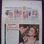 CAMELS Cigarettes Advertisement Esquire Magazine 1940's