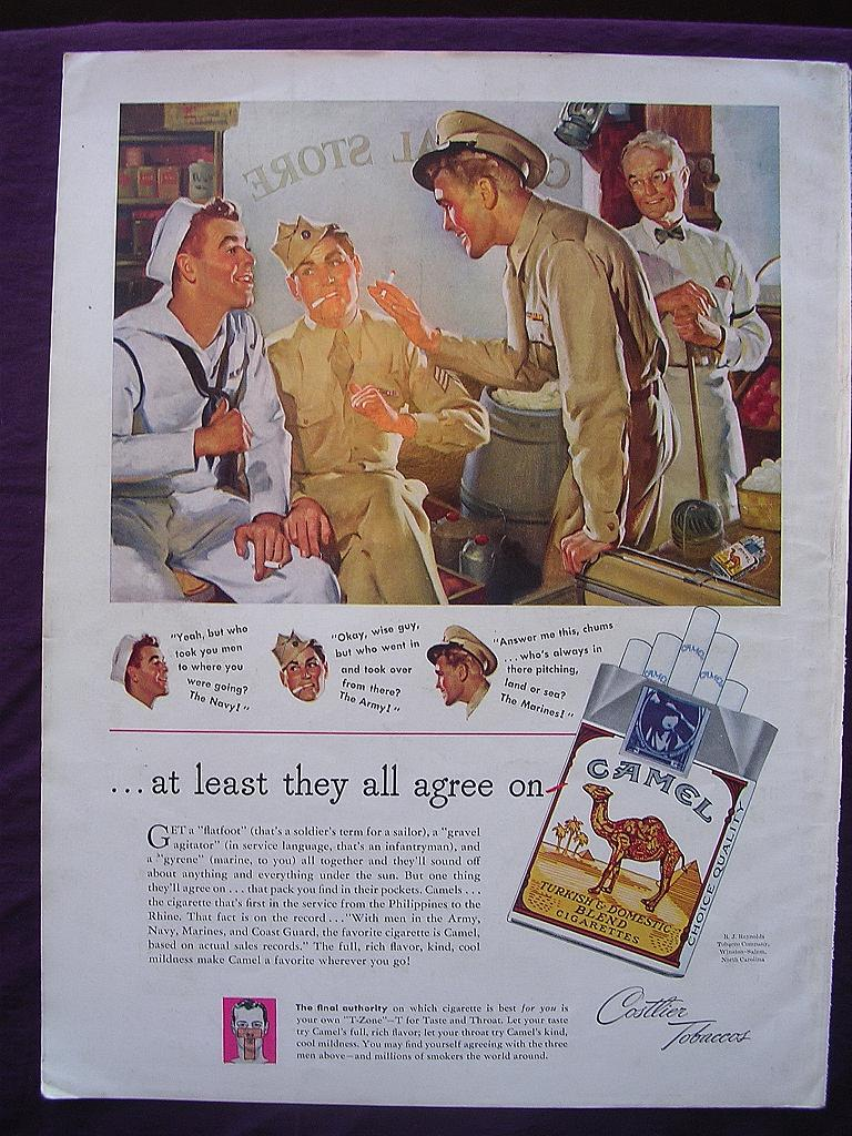 "Esquire 1945  'CAMELS' Advert ""At least they all agree on - CAMEL"""