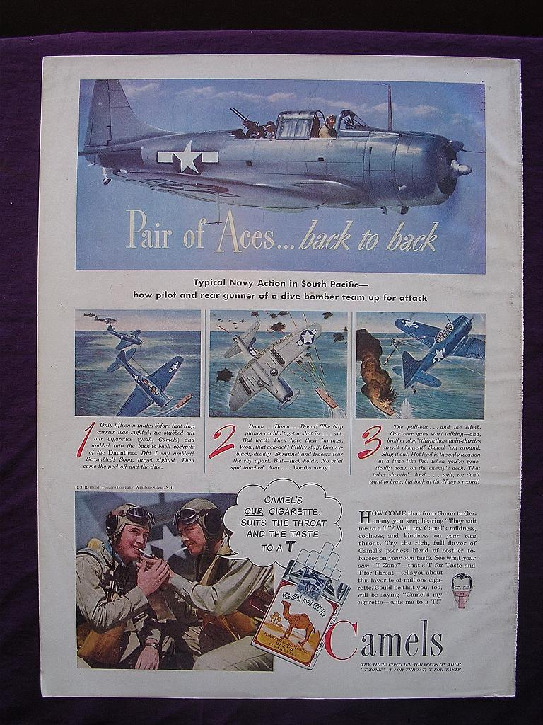 "Esquire 1944  'CAMELS' Advert  ""Pair of Aces ....  .back to back"""