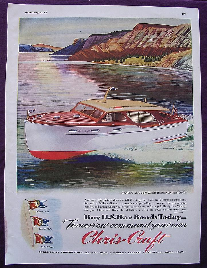 Esquire 1945 WW2 Advert For CHRIS - CRAFT 'Buy U.S. War Bonds Today'