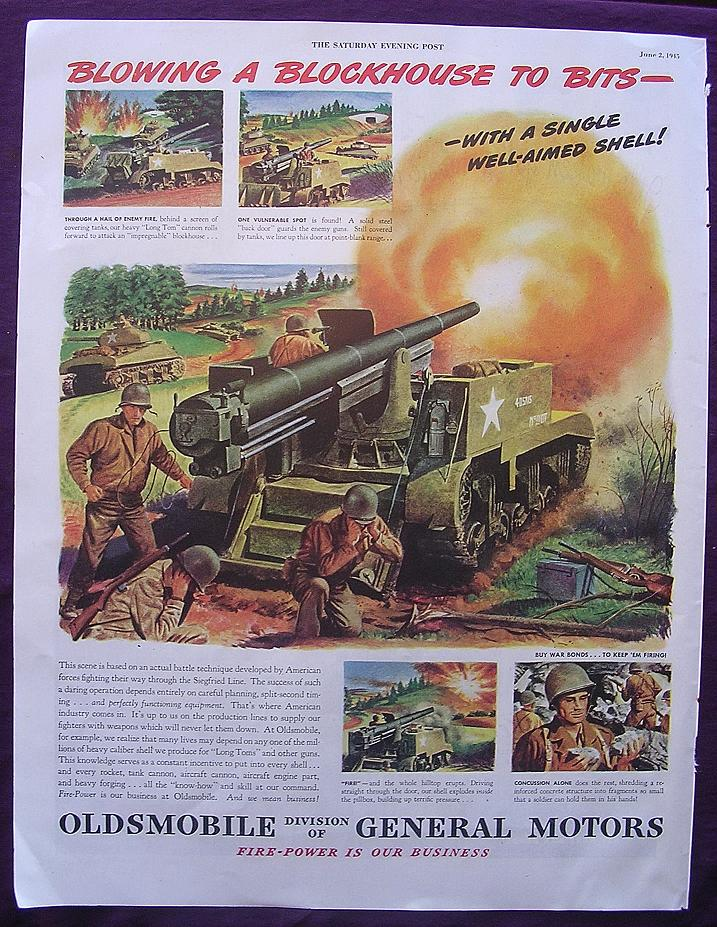 Esquire 1945 OLDSMOBILE WW2 Advert 'Blowing A Blockhouse To Bits'