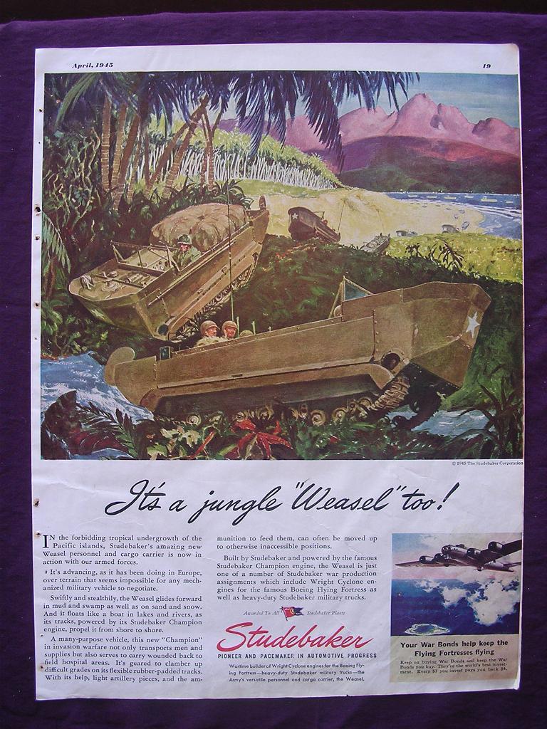 "ESQUIRE Magazine WW2 ""It's A Jungle Weasel Too"" Studebaker Advert"