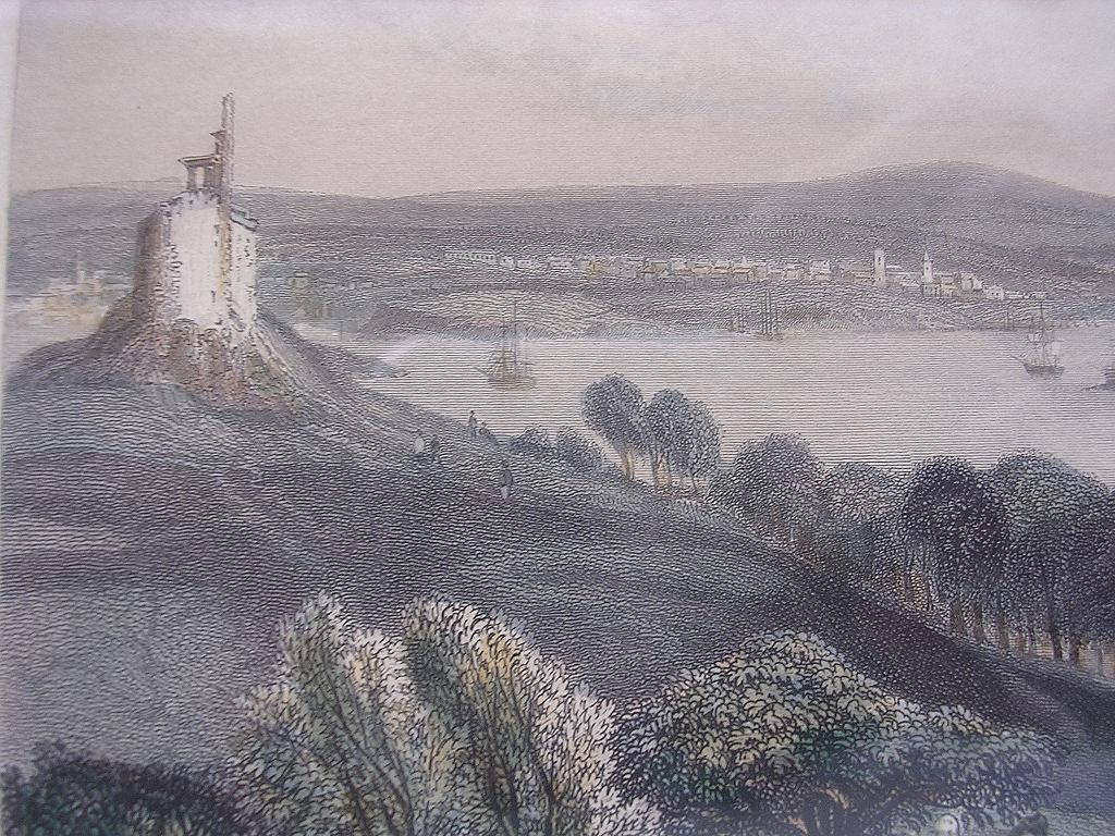 Victorian Hand Coloured Steel Engraving 'PLYMOUTH - DEVON' Circa 1840