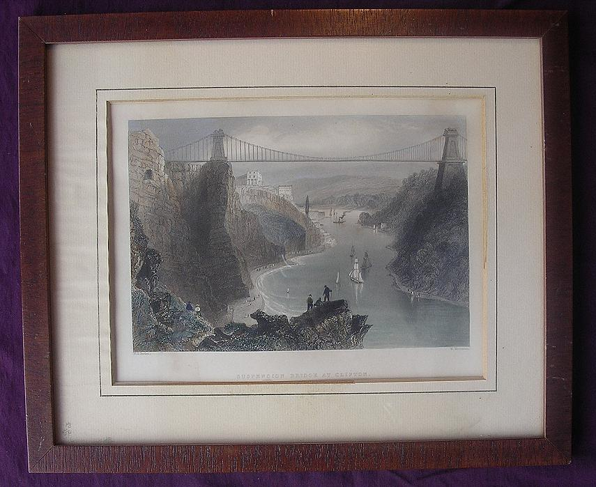 Victorian Hand Coloured Steel Engraving 'SUSPENSION BRIDGE AT CLIFTON' Circa 1840