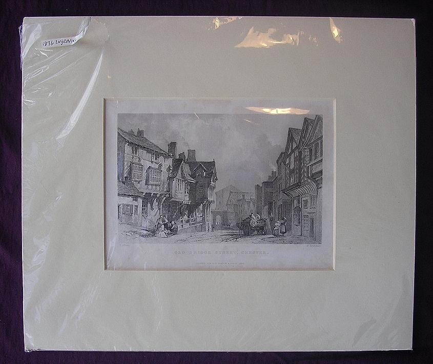 Victorian Engraving 'Old Bridge Street - Chester' Circa 1836