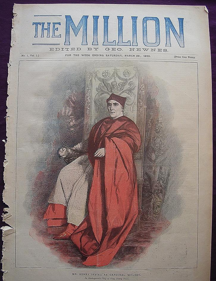 1892 Front Cover Of THE MILLION Newspaper 'Mr. Henry Irving As Cardinal Wolsey'