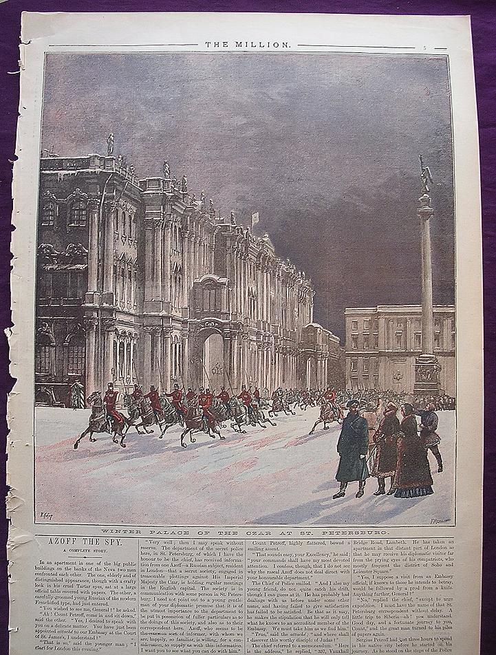 1892 Engraving From THE MILLION Newspaper Titled 'Winter Palace Of The Czar At St. Petersburg'