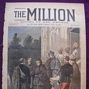 1892 Front Cover Of THE MILLION Newspaper 'The Queen At Hyeres'