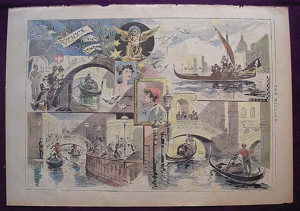 """Full Page From April 1892 Edition Of THE MILLION Newspaper 'Venice In London"""""""
