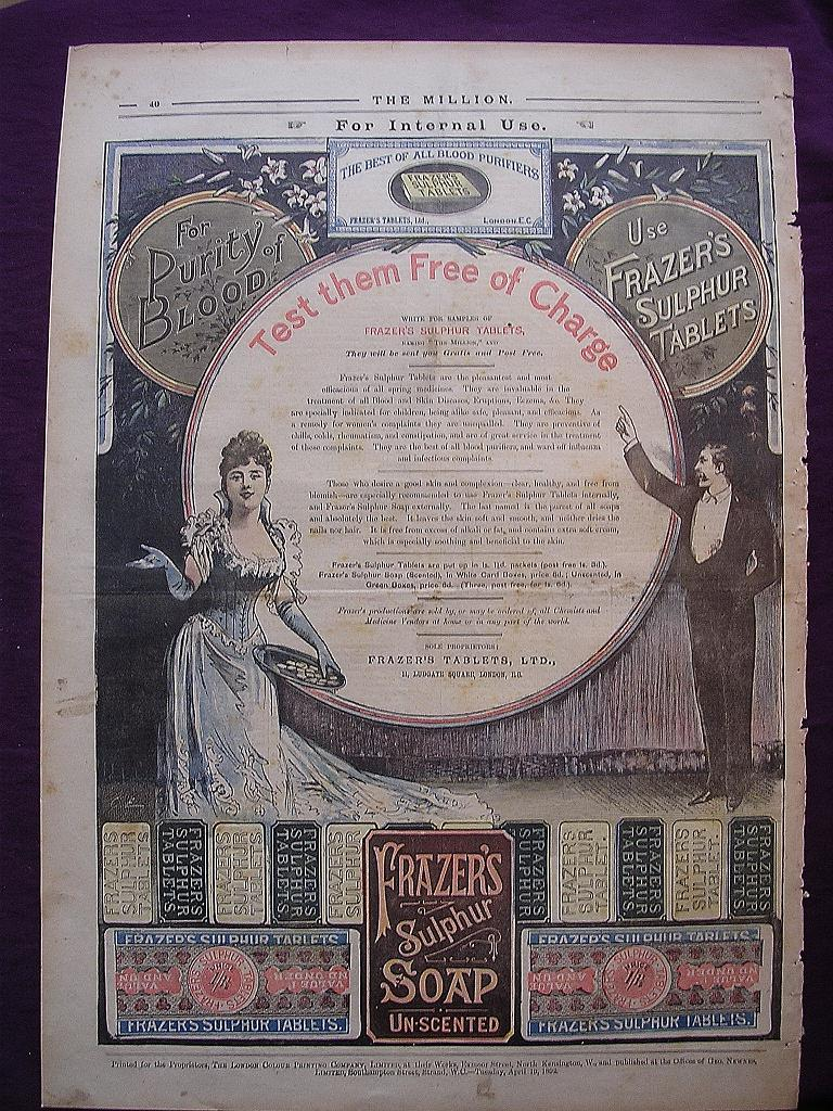 Victorian Full Page Advert for FRAZER'S Sulphur Tablets From THE MILLION Newspaper April 1892
