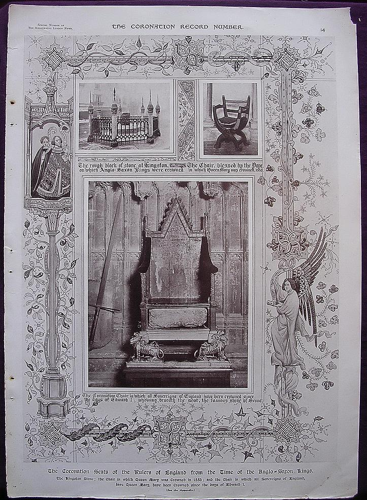 Coronation Of King George V & Queen Mary - Plate X1V The Coronation Seats Of Rulers Of England From The Time Of The Anglo Saxon Kings