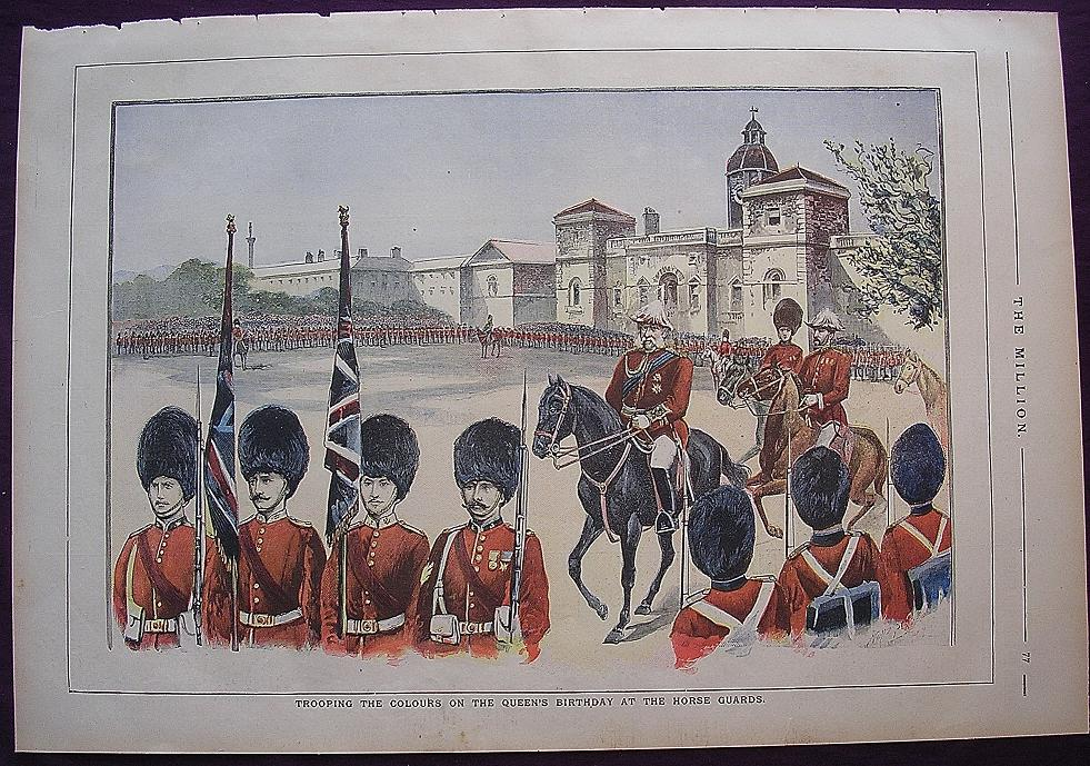 1898 Full Page THE MILLION Newspaper ' Trooping The Colours On The Queen's Birthday At The Horse Guards'