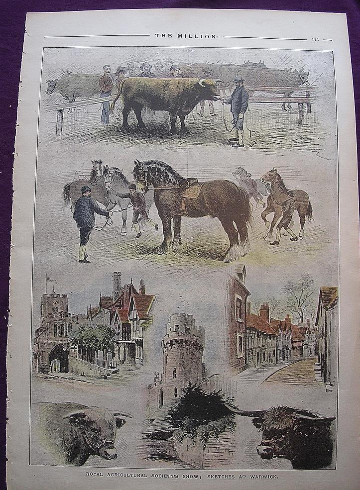 1892 Full Page THE MILLION Newspaper ' Royal Agricultural Society's Show; Sketches At Warwick'