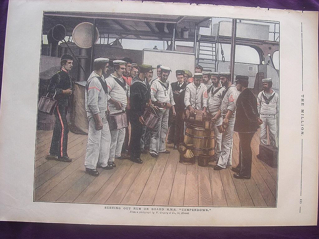 1892 Full Page From THE MILLION Newspaper 'Serving Out Rum On Board H.M.S Camperdown'