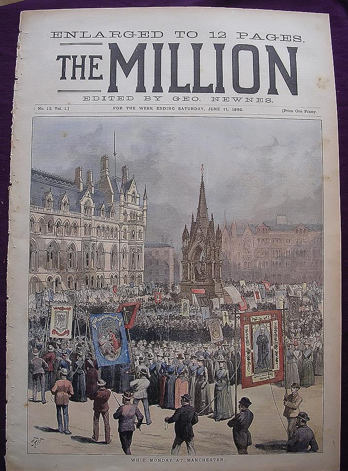 1892 Front Cover THE MILLION Newspaper ' Whit Sunday At Manchester'