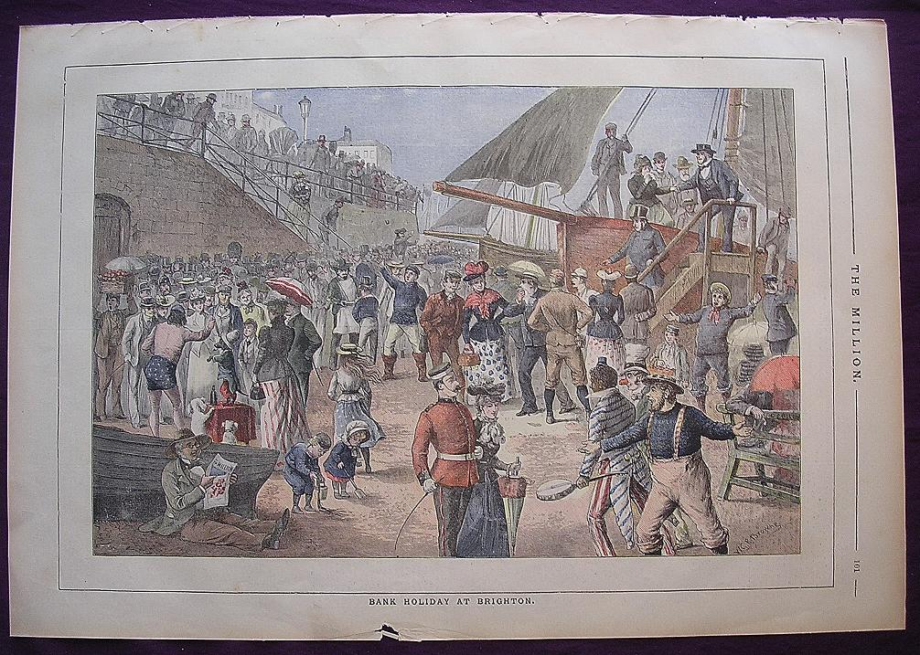 1892 Full Page From THE MILLION Newspaper ' Bank Holiday At Brighton'