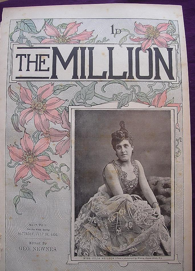 1892 Front Cover From THE MILLION Newspaper 'Miss Julia Neilson'