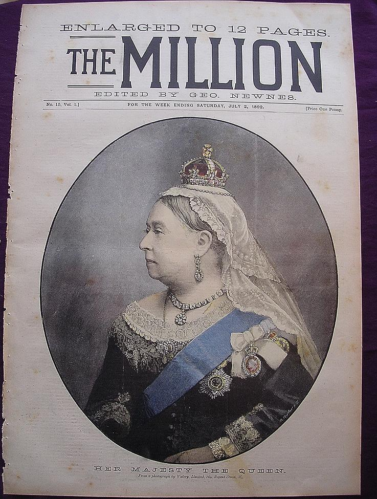 1892 Front Cover Of THE MILLION 'Her Majesty The Queen'