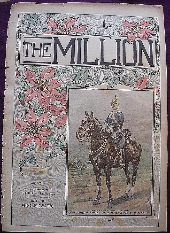 1892 Front Cover From THE MILLION Newspaper 'Types Of The British Army -Trooper 6th Dragoon Guards'