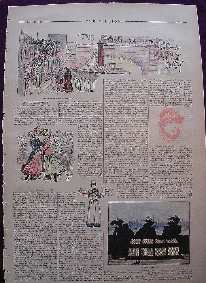 1892 Full Page From THE MILLION Newspaper ' The Place To Spend A Happy Day'