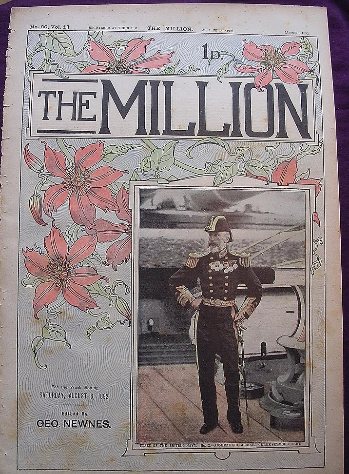 1892 Front Cover From THE MILLION Newspaper 'Types Of The British Navy - Admiral Sir Michael Culme-Seymour, Bart.