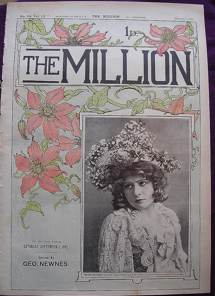 1892 Front Cover From THE MILLION Newspaper - Actress - 'Miss Mabel Love'