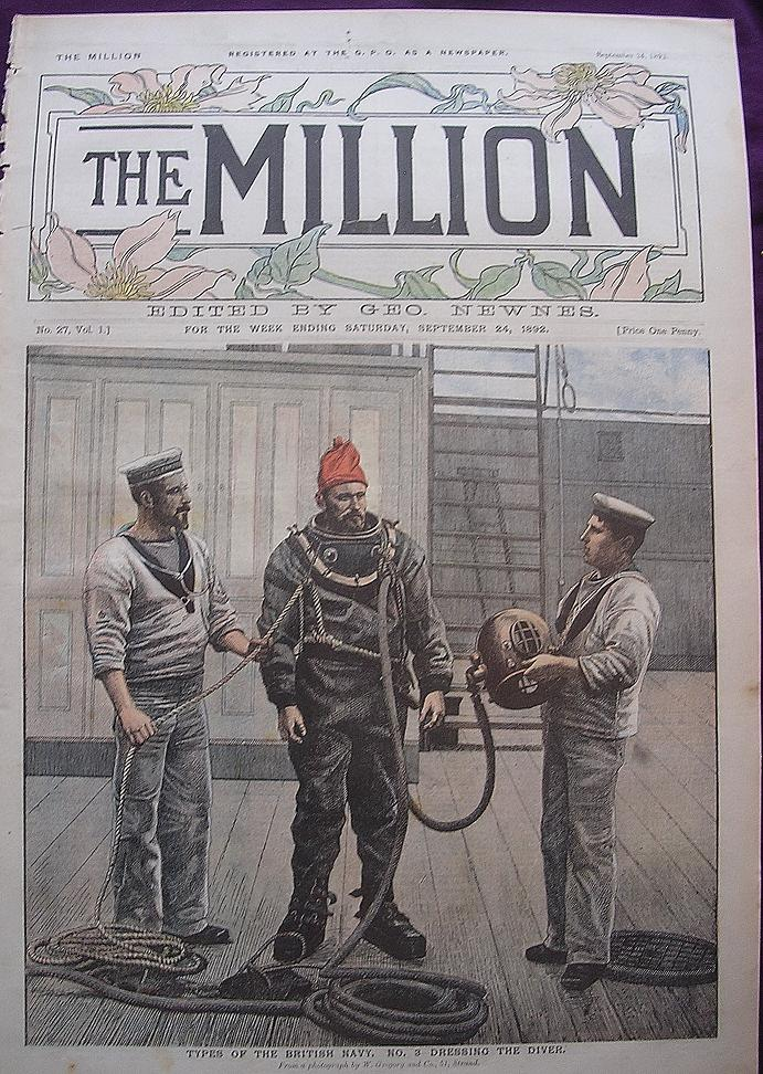 Front Cover From September 1892 Edition Of THE MILLION Newspaper ' Types Of The British Navy - Dressing The Diver'