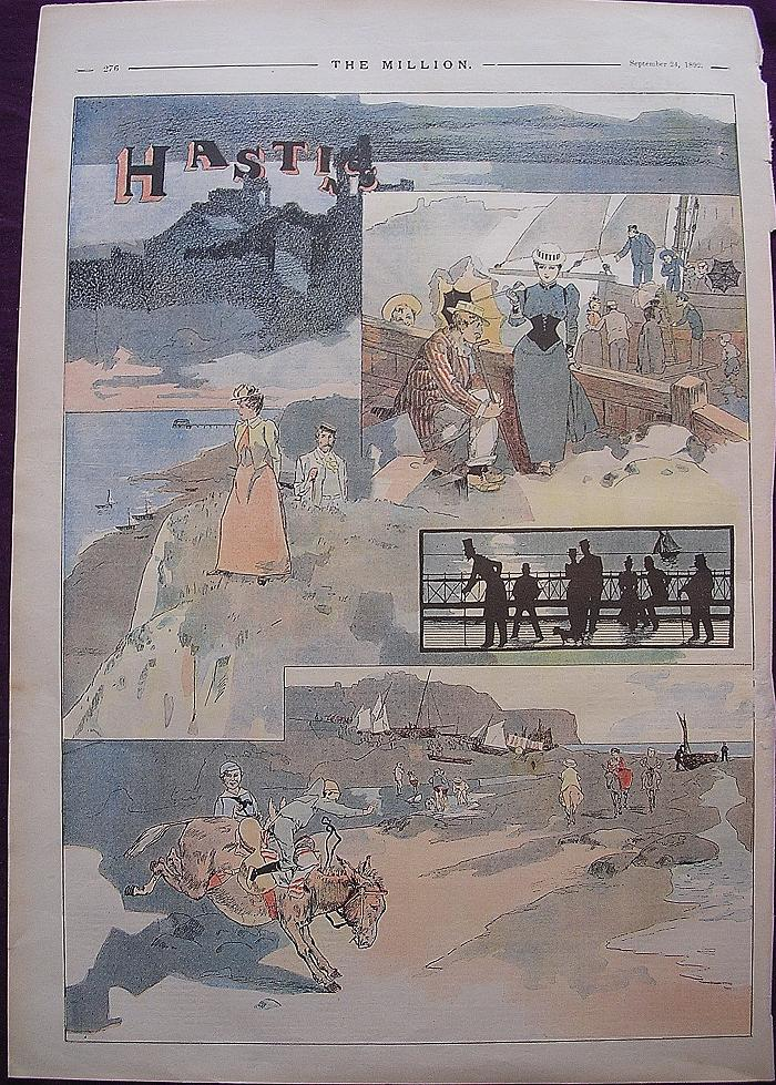 1892 Full Page From THE MILLION Newspaper  Titled 'Hastings'