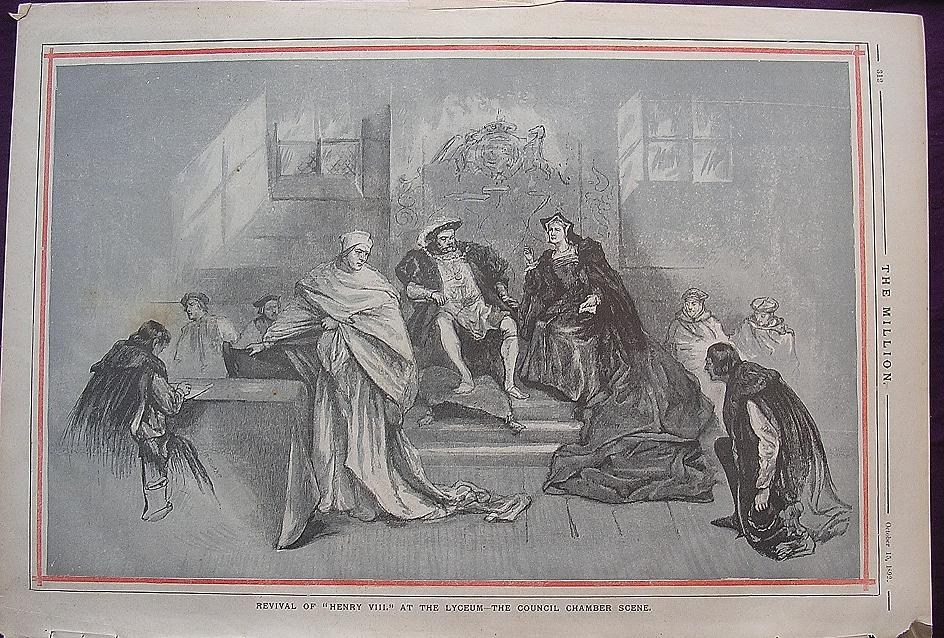 1892 Full Page From THE MILLION ' Revival Of Henry V111 At The Lyceum - The Council Chamber Scene'