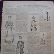 Five Pages Of Ladies Fashions From THE MILLION Newspaper 1892