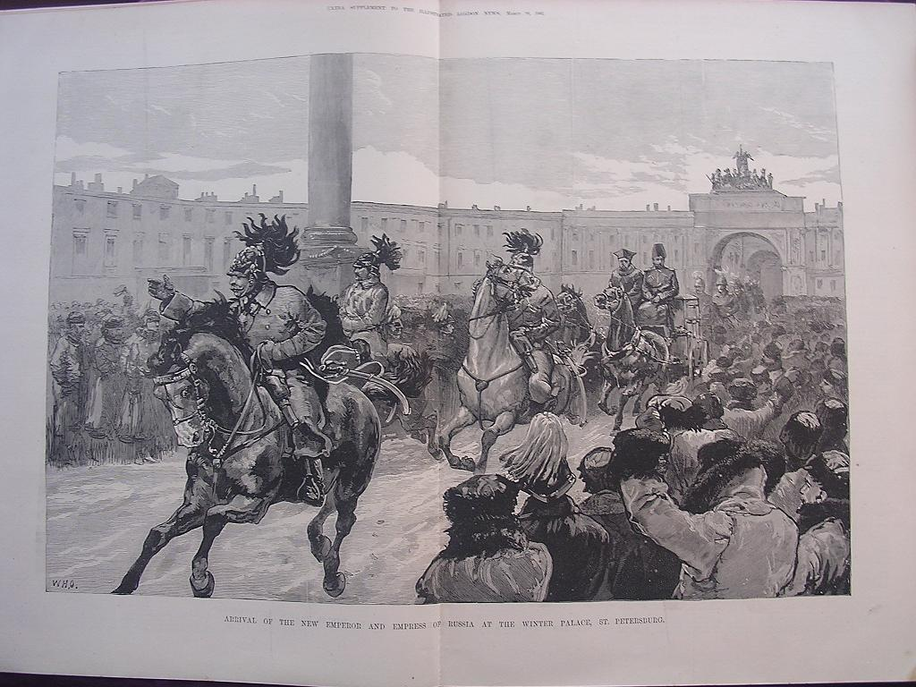 'Arrival Of The New Emperor And Empress Of Russia At The Winter Palace, St. Petersburg' Illustrated London News March 26 1881