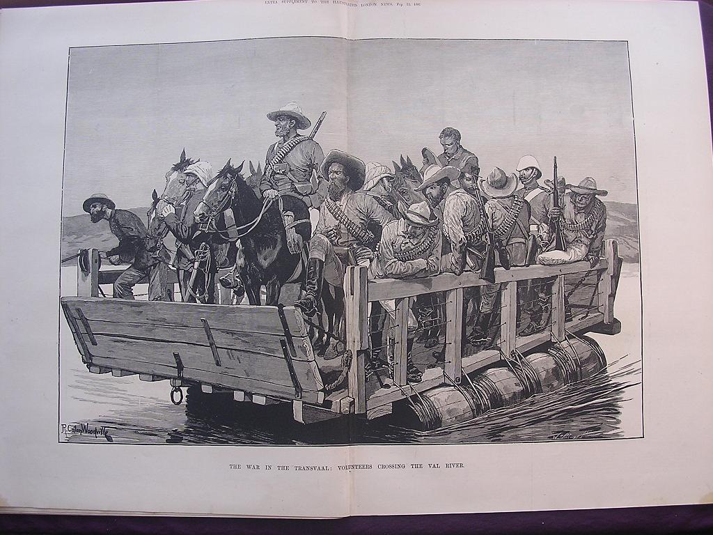 'The Transvaal War:Volunteers Crossing The Vaal River' - London Illustrated News February 1881