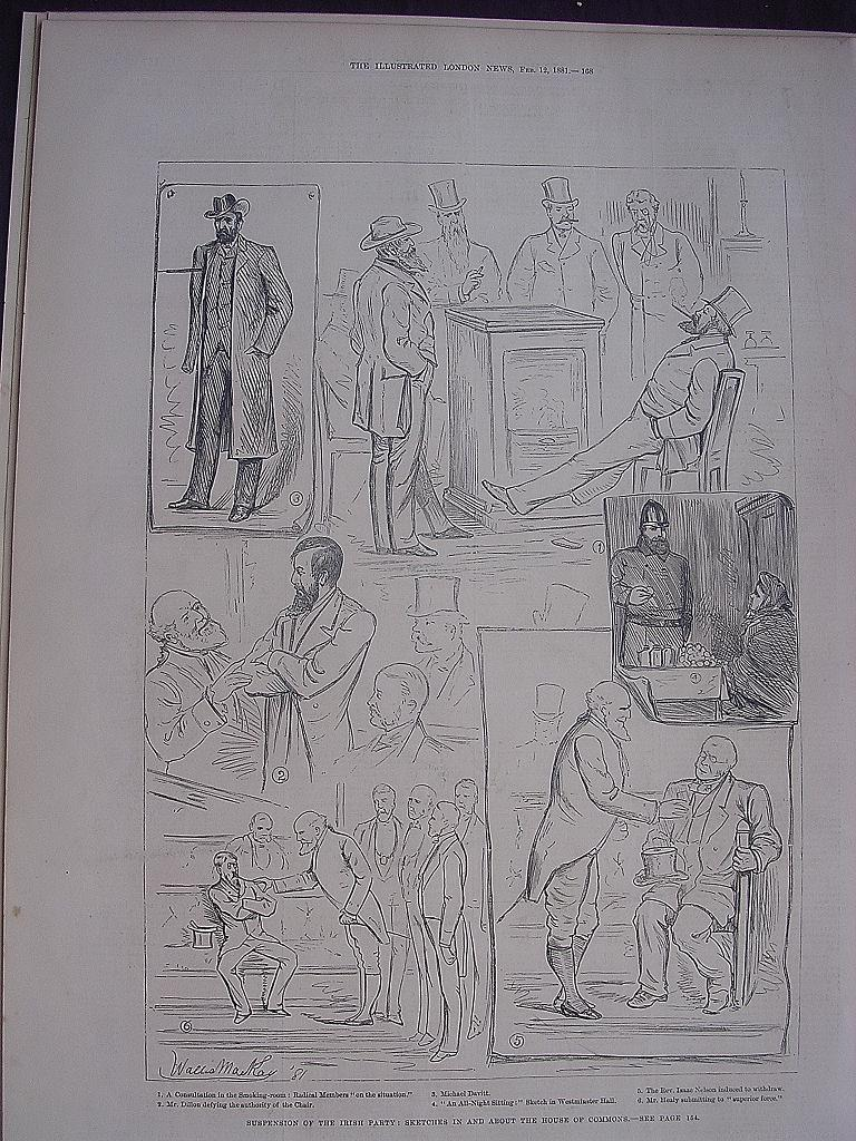 'Suspension Of The Irish Party: Sketches In And About The House Of Commons' - Illustrated London News Feb 12 1881