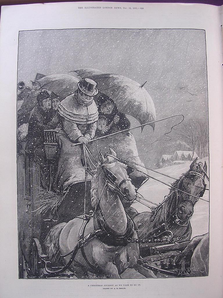 'A Christmas Journey' A PAIR Of Full Page Sketches From The Illustrated London News Dec 24 1881