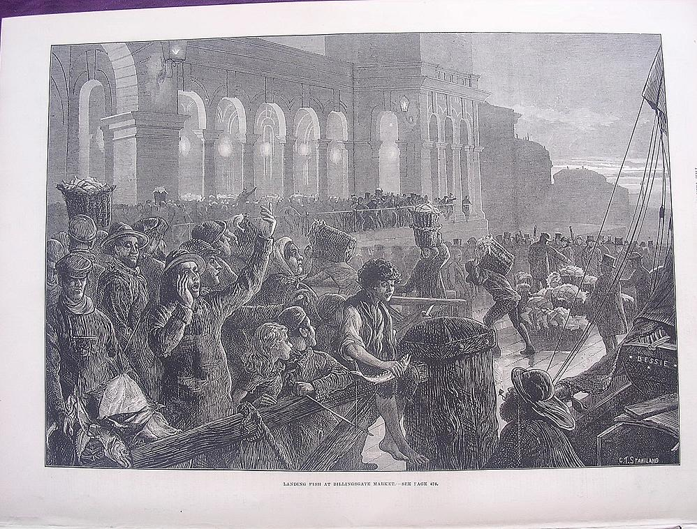 'Landing Fish At Billingsgate Market' - Illustrated London News Nov. 12 1881