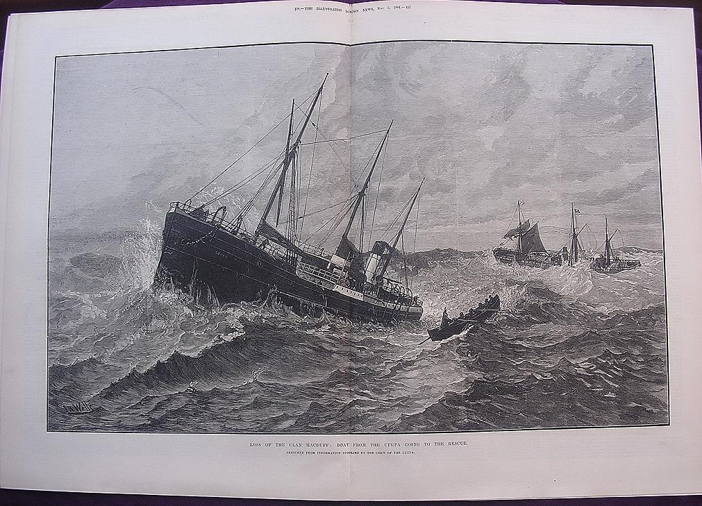 'Loss Of The CLAN MACDUFF: Boat From The UPUPA Going To The Rescue' - Illustrated London News Nov. 5 1881