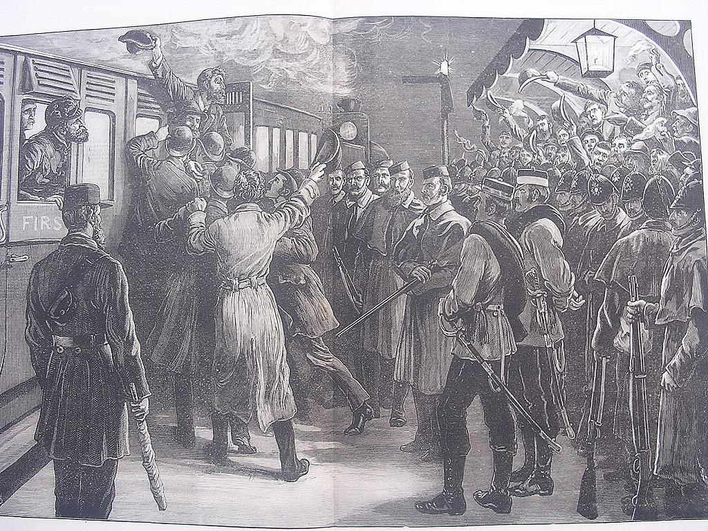 The State Of Ireland: Arrested Under The Coercion Act - A Sketch At Roscommon Railway Station' - Illustrated London News Dec. 3 1881